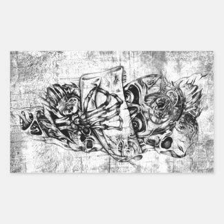 Cueza los cráneos al vapor ilustrados mano punky e rectangular pegatinas