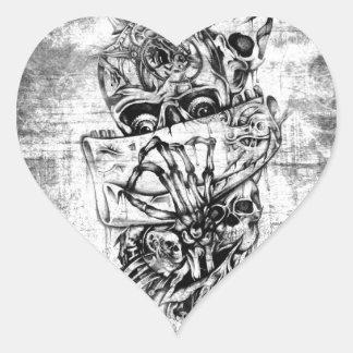 Cueza los cráneos al vapor ilustrados mano punky e colcomanias de corazon personalizadas