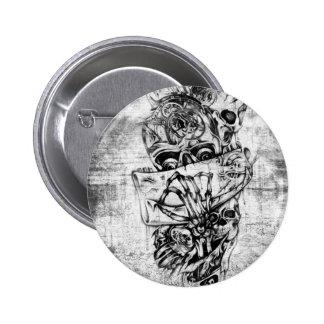 Cueza los cráneos al vapor ilustrados mano punky e pins
