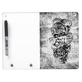 Cueza los cráneos al vapor ilustrados mano punky e tablero blanco