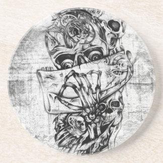Cueza los cráneos al vapor ilustrados mano punky e posavasos manualidades