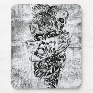 Cueza los cráneos al vapor ilustrados mano punky e tapetes de raton