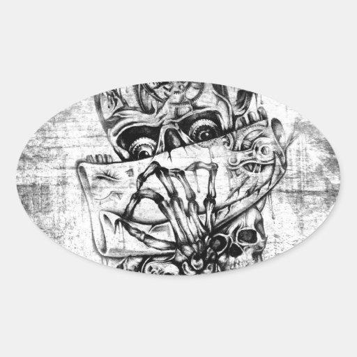 Cueza los cráneos al vapor ilustrados mano punky pegatina óval