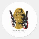 cueza mi día-oro pegatina redonda