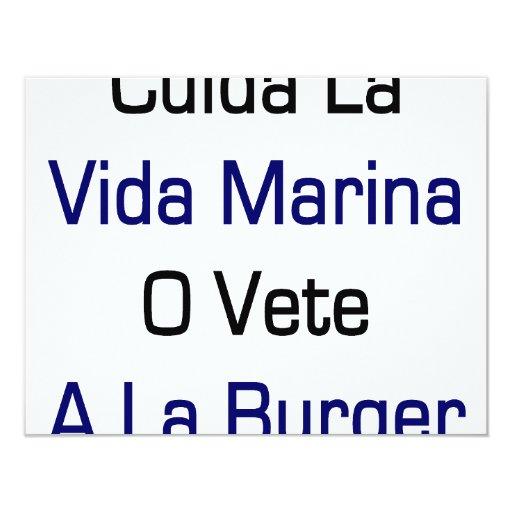 Cuida La Vida Marina O Vete A La Burger 4.25x5.5 Paper Invitation Card