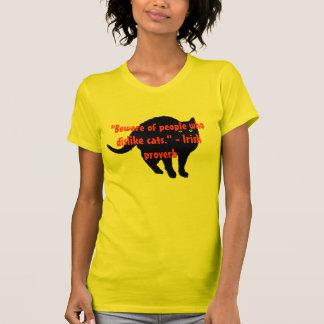 Cuidado a los enemigos del gato camiseta