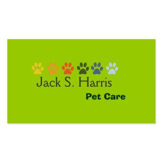Cuidado animal de mascota del verde de guisante tarjetas de visita