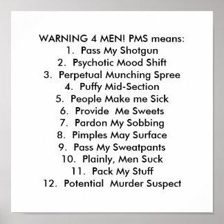 ¡CUIDADO DE 4 HOMBRES! Medios de PMS: 1. Pase mi e Poster