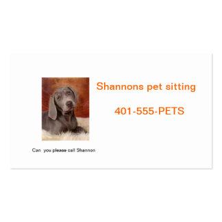 Cuidado de animales de compañía tarjetas de visita