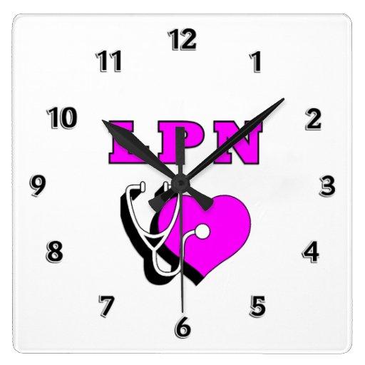 Cuidado de la enfermera de LPN Reloj Cuadrado