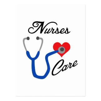 Cuidado de las enfermeras tarjeta postal