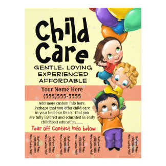 Cuidado de niños. El cuid losar nin¢os. Cuidado Flyer A Todo Color