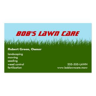Cuidado del césped - hierba verde - ajardinar la s tarjetas de visita
