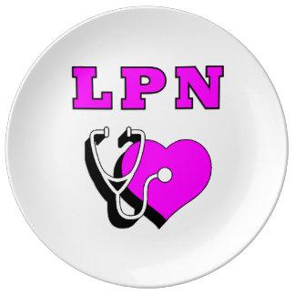 Cuidado del oficio de enfermera LPN Plato De Cerámica