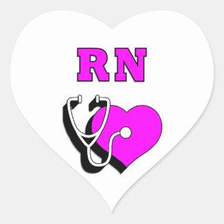 Cuidado del RN de las enfermeras Calcomanía De Corazón