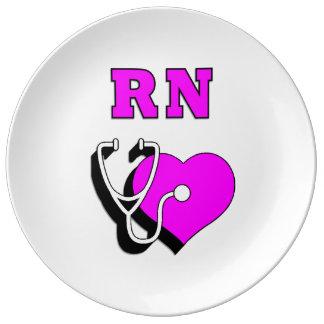 Cuidado del RN de las enfermeras Plato De Cerámica