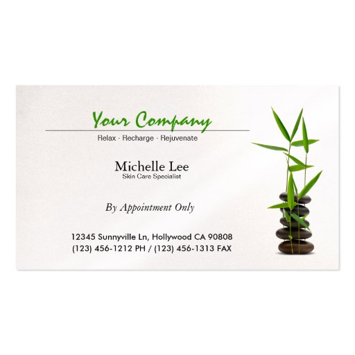 Cuidado elegante del balneario/de piel/zen del mas tarjetas de visita