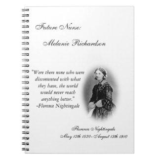 Cuidado Estudiante-con la cita de Florence Nightin Libro De Apuntes