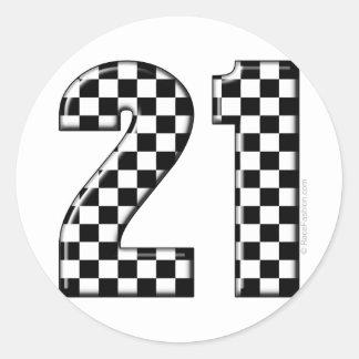 cuidado número 21 de la raza pegatina redonda