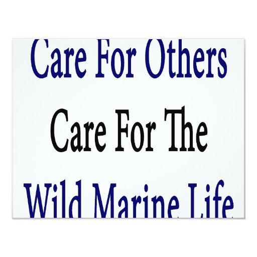 Cuidado para otros cuidado para la vida marina invitación 10,8 x 13,9 cm