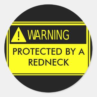 Cuidado protegido por un campesino sureño pegatina redonda