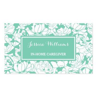 Cuidador femenino floral de la enfermera de la tarjetas de visita