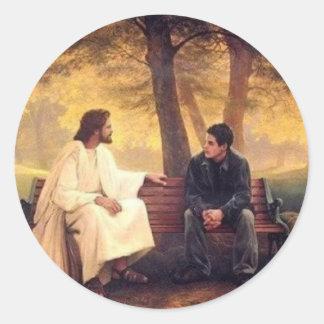 Cuidados de Jesús para mí Pegatinas Redondas