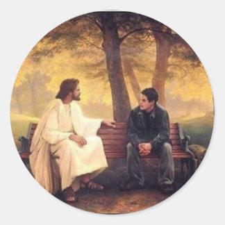 Cuidados de Jesús para mí Etiqueta Redonda