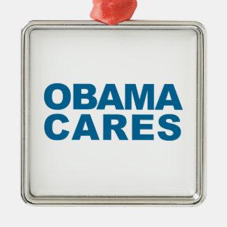 Cuidados de Obama Adorno Cuadrado Plateado