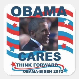 Cuidados de Obama Pegatina Cuadrada