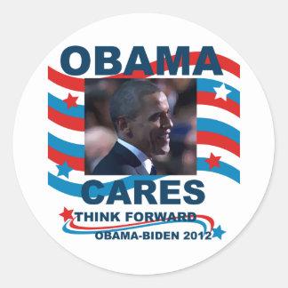 Cuidados de Obama Pegatina Redonda