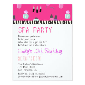"""Cuidando el fiesta del balneario en exceso, para invitación 4.25"""" x 5.5"""""""