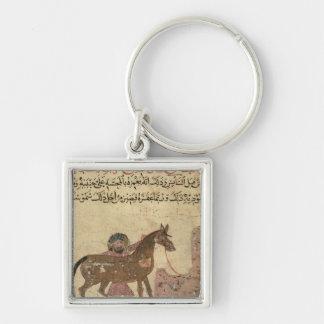 Cuidando para el caballo, ejemplo llavero cuadrado plateado