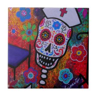 Cuide a Skull Dia de Los Muertos Tiles por los pri Azulejo Cuadrado Pequeño