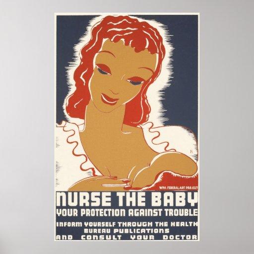 Cuide al bebé su protección contra problema póster