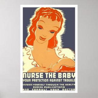 Cuide al bebé WPA 1938 Póster