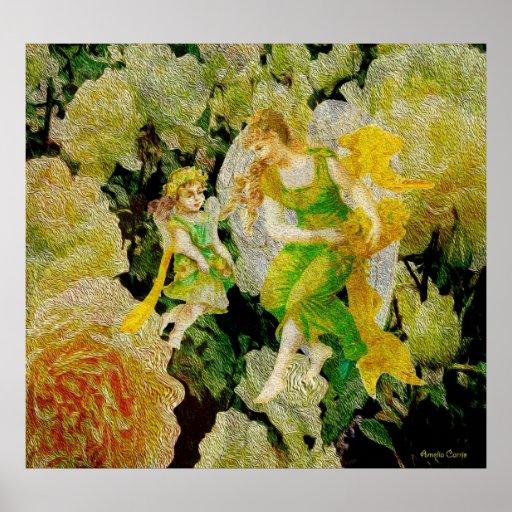 Cuide - dos ángeles en exceso entre las flores póster