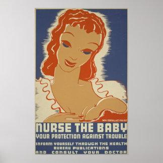 Cuide el poster de WPA del bebé Póster