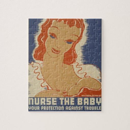 Cuide el poster de WPA del bebé Puzzles Con Fotos