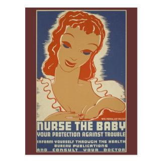 Cuide el poster de WPA del bebé Tarjetas Postales