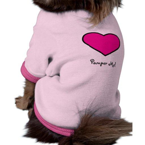 Cuídeme en exceso camisa del perrito camiseta con mangas para perro