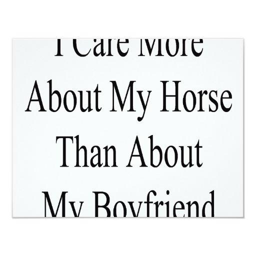 Cuido más sobre mi caballo que sobre mi novio invitación 10,8 x 13,9 cm