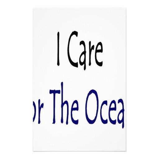 Cuido para los océanos papeleria personalizada