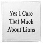 Cuido sí que mucho sobre leones servilleta