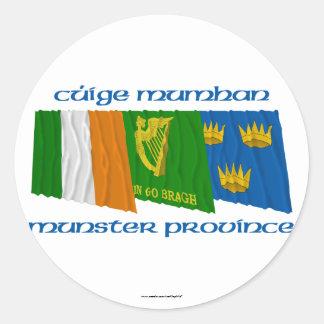Cúige Mumhan (Munster Province) Flags Round Sticker