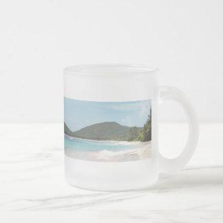Culebra's Flamenco Beach Puerto Rico 10 Oz Frosted Glass Coffee Mug