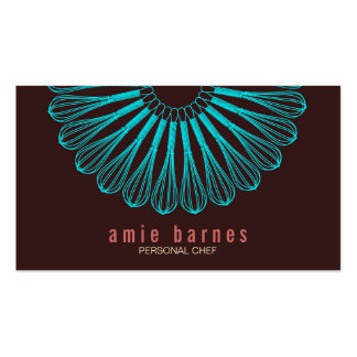 Culinary Chef Blue Whisk Logo Brown Business Card