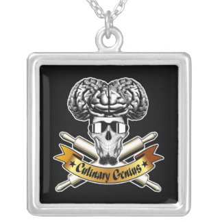 Culinary Genius: Baker Skull Square Pendant Necklace