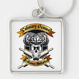 Culinary Genius: Brilliance Multiplied x2 Silver-Colored Square Keychain