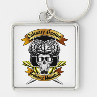 Culinary Genius: Brilliance Multiplied x3 Silver-Colored Square Keychain